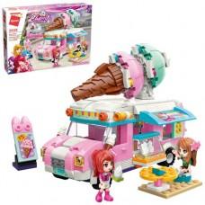 """Конструктор Qman 2029 """"Cherry"""" Рожевий фургон з морозивом, 388 дет."""