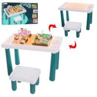 Конструктор-стол EB6666-B (10шт) 50-37-в54см, стульчик, фигурки, детали в компл, в кор-ке, 74-38-7см