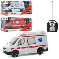 Машинка 688-788-888 радіокер., 3 види (швидка, пожежна, поліція), світло, бат., кор., 28-12-11 см.