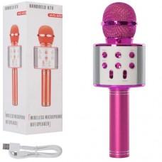 Мікрофон WS858-pink HQ акум., Bluetooth, TFслот, USBвхід, USBшнур, рожевий, кор., 8-23,5-9 см.