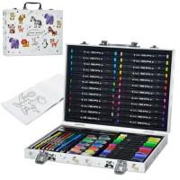 Набір для творчості MK 4761-2 олівці, акв.фарби, скетч маркери, крейда, розмальовка,валіза,35-25-5см