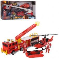 Набір рятувальників F119-26-28 пожежн.-катер, гелікоптер, човен, фігурки, 2 види, кор., 58-28-12 см.