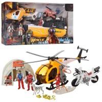 Набір рятувальників F120-24-27 гелікоптер, мотоцикл, фігурки, 2 види (катер/намет), кор.,50-27-12см.