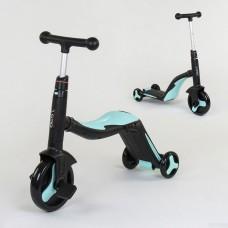 Самокат 3в1 JT 20255 (1) Best Scooter, самокат-велобег-велосипед, ГОЛУБОЙ, свет, 8 мелодий, колёса P