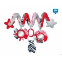 68/063_red Canpol babies Іграшка м яка спіраль до ліжечка/візка Zig Zag - червона