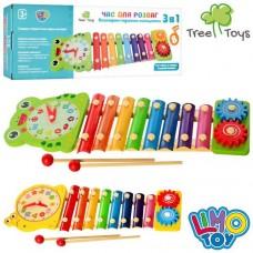 Дерев'яна іграшка Ксилофон MD 2170 8 тонів, годинник, шестерінки, палочки 2 шт., кор., 39-13,5-4 см.
