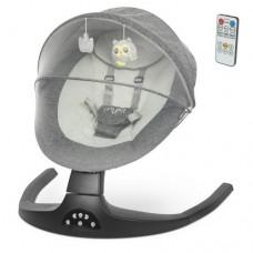 Центр-гойдалка ME 1074 MYLA Gray Linen пульт, 5 швид., таймер, 12 мелод., Bluetooth, USB, сірий.