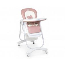 Стільчик Dolce M 3236 Rosette для годування, 5 точ. ремені, матрацик, 4 колеса, шкір., рожевий.