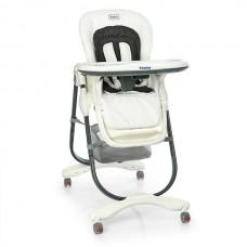Стільчик Dolce M 3236-10 Snow White для годування, ремені безпеки, матрацик, 4 колеса, шкіра, білий.